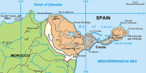 Spanish Ceuta on the African continent